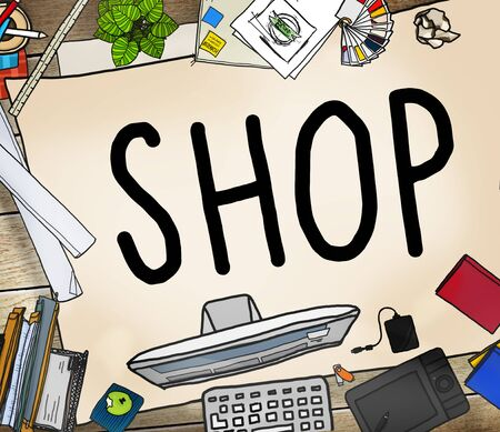 purchase: Shop Shopping Retail Purchase Commercial Concept Stock Photo