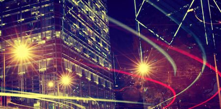 city by night: Night View of Blurry Lights in a City Concept