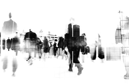 city scape: Business People Walking on a City Scape Concept Stock Photo