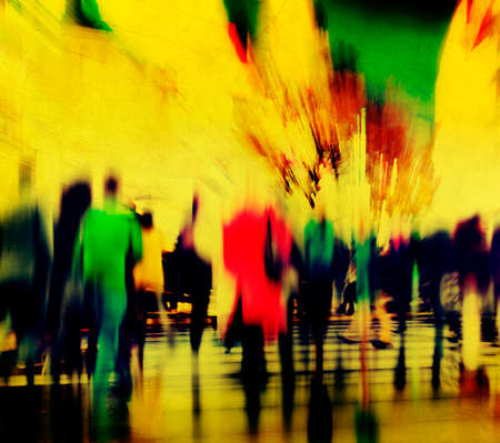 urban scene: Business People Rush Hour Walking Commuting City Concept