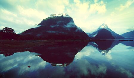mitre: Mountains In New Zealand Mystery Nature Concept Stock Photo