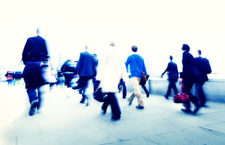 hustle: Business People Walking Commuter Rush Hour Concept Stock Photo