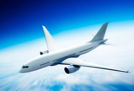 Airplane Skyline Horizon Flight Cloud Concept Stock Photo