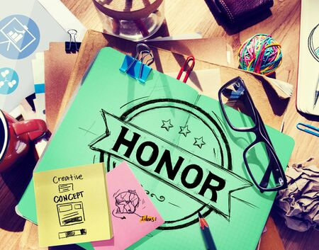 no integrity: Honor Integrity Success Victory Achievement Concept Stock Photo