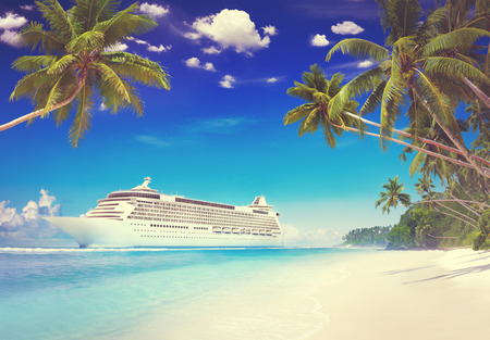 vacation destination: Cruise Beach Palm Tree Vacation Travel Holiday Concept Stock Photo