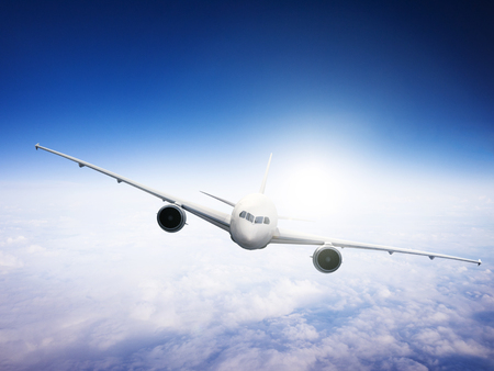 aeroplane: Airplane Skyline Horizon Flight Cloud Concept Stock Photo