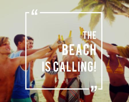 enjoyment: The Beach Is Calling Enjoyment Fun Concept