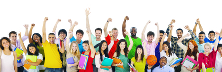 Diverse High School Students Arms Raised Concept Imagens