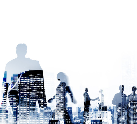 Silhouette Business People Discussion Commuting Concept Imagens - 46311832