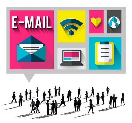 keywords link: Email Message Send Connection Communication Concept
