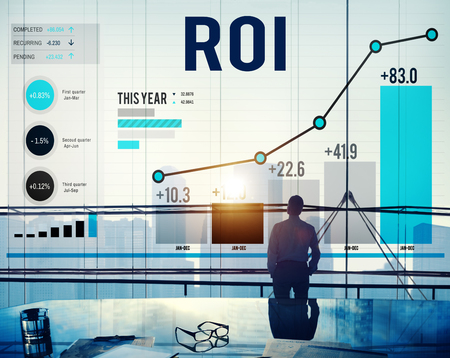 rendement: ROI Return On Investment Analysis Financiën Concept Stockfoto