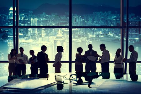 meeting together: Business People Working Discussion Teamwork Concept Stock Photo