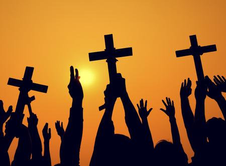 jesus statue: Cross Catholicism Determination Spiritually Crucifix Concept Stock Photo