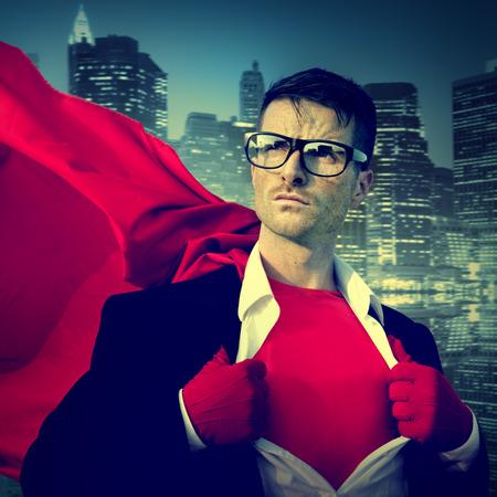 強力なスーパー ヒーロー専門的なリーダーシップ ビジネス勝利概念 写真素材