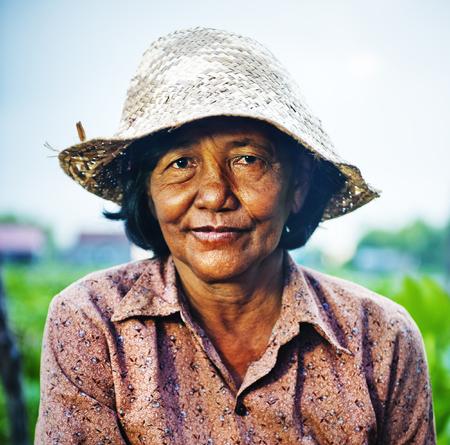 cambodian: Cambodian local female farmer. Stock Photo