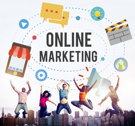 online marketing promotion campaign technology concept stock photo