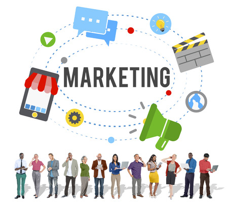 social marketing: Marketing Strategy Branding Commercial Advertisement Concept Stock Photo