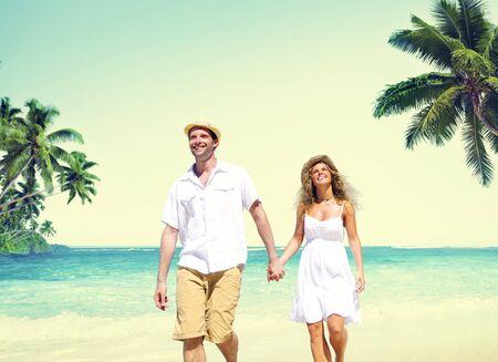 couple dating: Honeymoon Couple Summer Beach Dating Concept