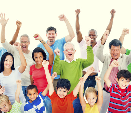 mixed age: Group of People Community Celebration Happiness Concept Stock Photo