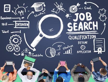 Recherche d'emploi qualification Reprendre Recrutement embauche application Concept Banque d'images - 46312659
