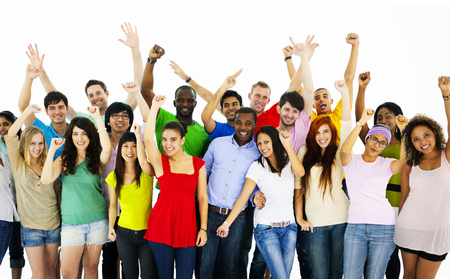 Large Group of People Celebrating community Concept Stock Photo