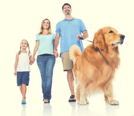 petting: Family Petting Dog Bonding Togetherness Concept Stock Photo