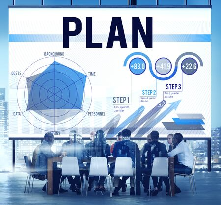 work team: Strategy Planning Vision Growth Success Concept Stock Photo