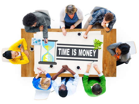 hour glass: Time Money Hour Glass Casual People Concept Stock Photo
