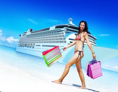 cruise travel: Woman Bikini Shopping Bags Beach Summer Concept