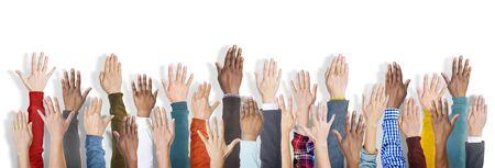 manos levantadas: Grupo de manos Diversos Multi�tnicas Raised