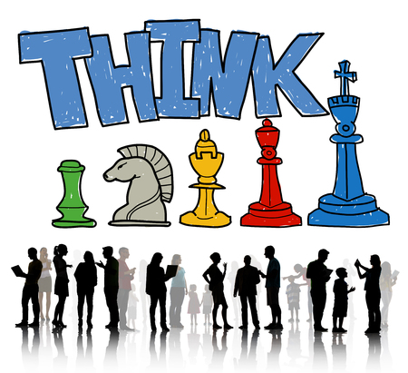 People with the word THINK and business strategy concept