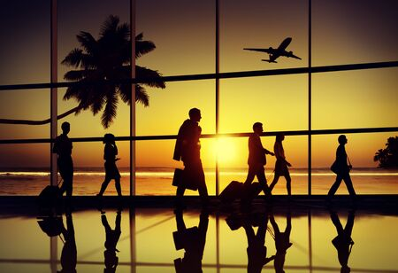 3d mode: Back Lit Business People Traveling Airplane Airport Concept