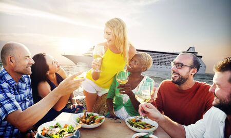 dinner cruise: Friends Friendship Outdoor Dining Beach Concept