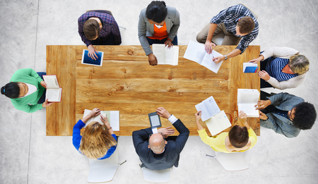 meeting table: Business People Working Office Meeting Concept Stock Photo