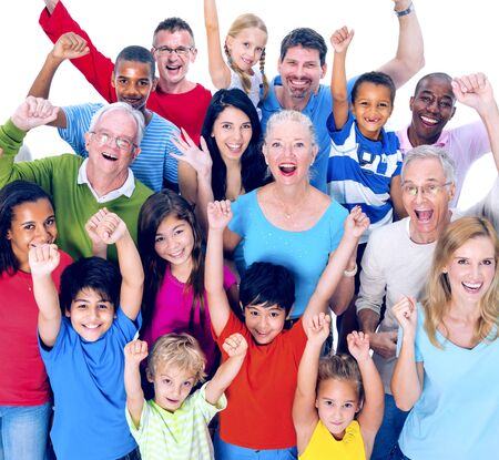 mixed age: Diverse People Happiness Friendship Celebration Concept