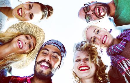 Friendship Huddle Happiness Beach Summer Concept