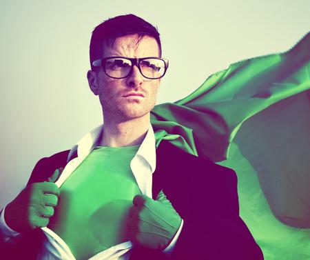 transforming: Strong Superhero Businessman Transforming Concept
