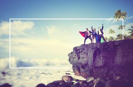 edge of cliff: Business People Superheros Cliff Edge Concept Stock Photo