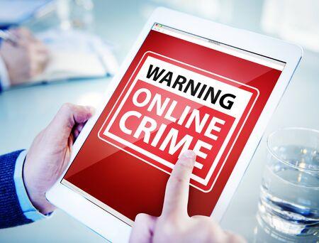 cyber crime: Hands Holding Digital Tablet Cyber Crime