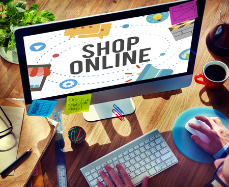 shop online: Shop Online E-commerce Marketing Business Concept