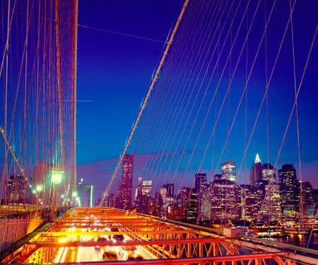 downtown district: Famous Place Brooklyn Bridge Downtown District Concept