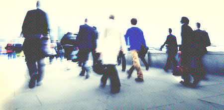 business life: Business People Walking Commuter Rush Hour Concept Stock Photo