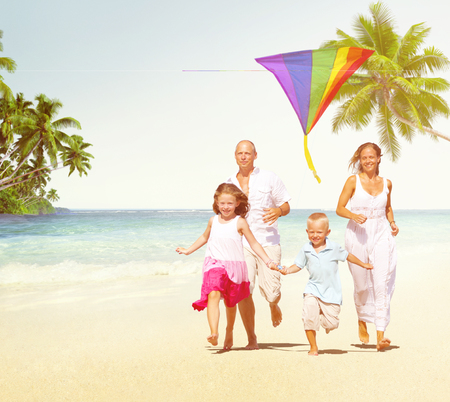 activity holiday: Family Beach Enjoyment Holiday Summer Concept