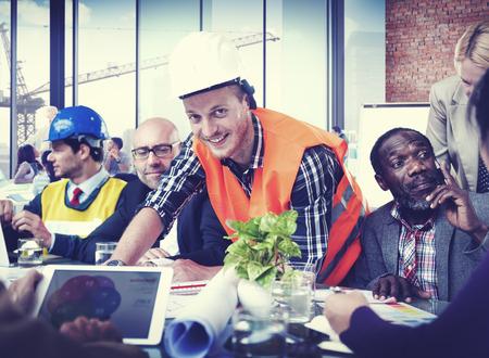 Trabajador de construcción Oficio con título Concepto de Trabajo de Planificación