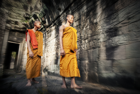 angkor wat: Culture Contemplating Monk Buddhism Traditional Concept