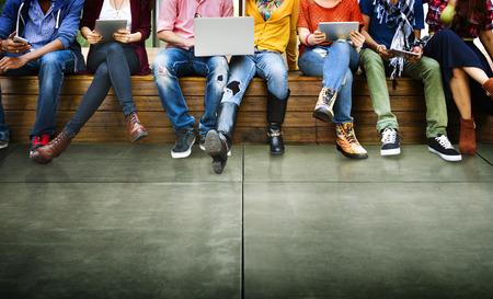 přátelé: Mládež přátelům přátelství technologie společně Concept