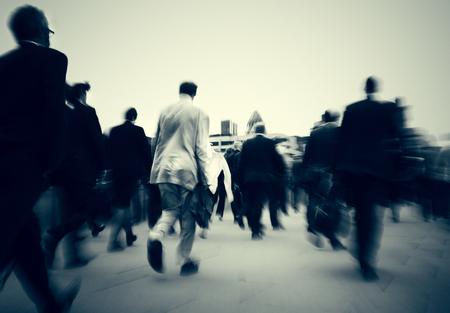 bustle: Business People Commuter Cityscape Rush Hour Concept
