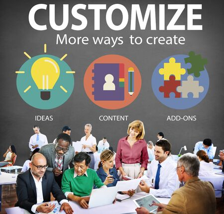 work team: Customize Ideas Identity Individuality Innovation Personalize Concept Stock Photo