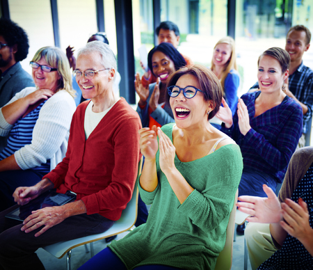 Audience Applaud Clapping Happines Appreciation Training Concept 스톡 콘텐츠