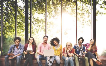 다양성 청소년 친구 친구 팀 개념 스톡 콘텐츠